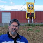 Steve poses with SpongeBob